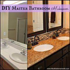 Love the tile backsplash DIY Master Bathroom Makeover