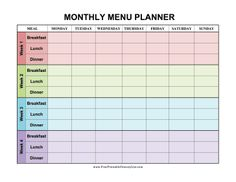 four weeks are decorated in different colors in this monthly menu planner that covers breakfast lunch and dinner free to download and print