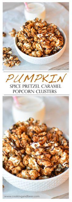 Pumpkin Spice Pretzel Caramel Popcorn Clusters | www.cookingandbeer.com | @jalanesulia | Cooking and Beer
