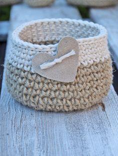 Crochet, basket, heart, gift Basket, Cotton, linnen Natural Wedding Rustic  Crochet  Basket leather hert Alternative Gift Bags  Wedding