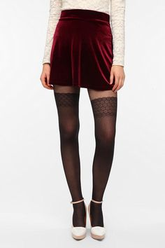 """Pins and Needles Velvet Mini Circle Skirt -- """"Every time I wear this skirt I feel on top of the world."""""""