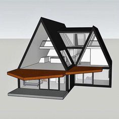 traumhaus A-shaped house. A-frame. Bungalow Haus Design, Tiny House Design, Tiny House Cabin, Cabin Homes, Triangle House, A Frame House Plans, Cabin Design, Cabins And Cottages, House Layouts