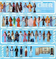 """1976 — Mego Toys' Sonny & Cher Doll Fashions I had Cher, most, if not all of her outfits and her dressing room. I absolutely loved changing her outfits and """"revealing"""" her new look in the mirror. Vintage Barbie, Vintage Dolls, Vintage Ads, Vintage Items, Female Dragon, Farrah Fawcett, Bob Mackie, Retro Toys, Collector Dolls"""