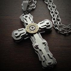 Riveted Cross Bullet Necklace for Men