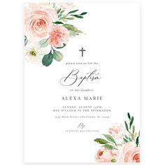 Girl Floral Baptism Invitation | Forever Your Prints