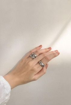 Silver chunky rings for stacking - The Hexad 💛www.thehexad.com
