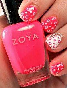My Vanity Basics: Susan G. Komen's Race for the Cure: Neon Pink Polka Dot Manicure!