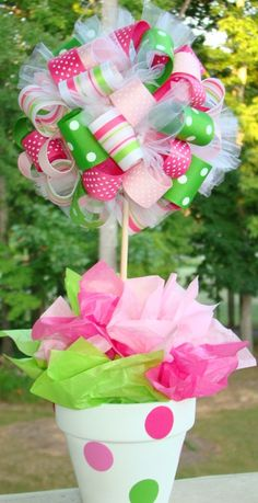 Ribbon Topiary: Easy to do centerpiece for parties and holidays