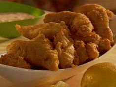 Beer Battered Catfish.  Tried this recipe tonight just to try something different.  Really good!  Worked better when I cut the pieces a little smaller.  I will definitely do this one again.