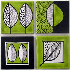 Set of 4 green and black leaf coasters $45