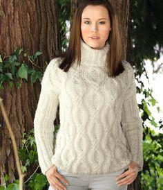 Белый свитер вязаный спицами. Женский свитер с узором косы | Домоводство для всей семьи.