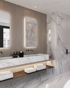 Detail of the master bathroom at the Chambon penthouse. Continuing the material palette from the dressing, with a custom Calacatta marble… Bathroom Design Luxury, Luxury Interior Design, Home Interior, Interior Plants, Bathroom Design Inspiration, Bad Inspiration, Unicorn Room Decor, Casa Patio, Modern Master Bathroom