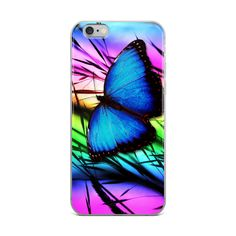 Blue Butterfly Phone Case For iPhone 6, iPhone 7, iPhone 8, iPhone 7 plus, iPhone X, iPhone 8 plus #etsy http://etsy.me/2D0fb3B #bluebutterfly #iphonecase