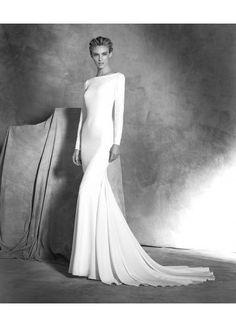 Robe de mariée sirène avec manches longues satin … …