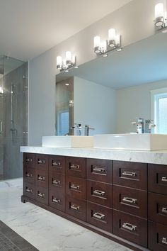Ensuite and powder room countertops in bianco carrara extra with thick mitered edges. Countertops by Patra Stone Works Ltd. Vanity Design, Carrara, Powder Room, Double Vanity, Countertops, Bathrooms, Stone, Projects, Log Projects