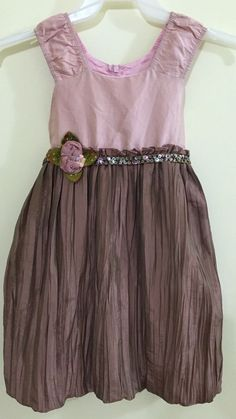 C'est Chouette Dress Size 6 Silk Special Occasion Dressy Pink Brown Corsage #CestChouette #DressyHolidayPageantWedding