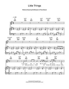 One Direction Little Things Sheet Music Download Piano Vocal