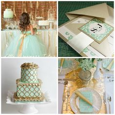 Mint #wedding inspiration board. #mint #gold #wedding