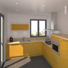 Cuisine bleue grise contemporaine avec plan de travail d cor ch ne clair implantation en l for Cuisine peinte en jaune