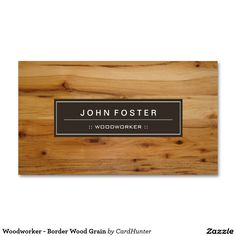 Woodworker - Border Wood Grain Double-Sided Standard Business Cards (Pack Of 100).  Artwork designed by CardHunter.