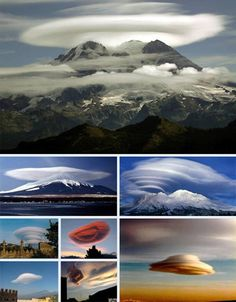 Lenticular Clouds are masses of cloud with strong internal uplift that can drive a motorless flyer to high elevations. Their shape is quite often mistaken for a mysterious flying object or the artificial cover for one.  Generally, lenticular clouds are formed as wind speeds up while moving around a large land object such as a mountain.