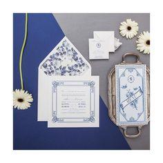 Azul, aquarela e moldura para o convite de Ana + Renato | #identidadevisual #bodadesign #weddingstationery #tb2015