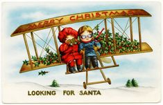 Old Design Shop ~ free printable vintage Whitney Christmas postcard boy and girl in plane looking for santa