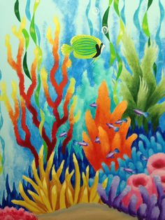 Coral Painting, Acrylic Painting Canvas, Canvas Art, Sea Life Art, Sea Art, Ocean Life, Underwater Painting, Coral Art, Fish Art