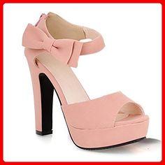 Minetom Damen Sommerschuhe Elegante Pumps High Heels Sandalen Abendschuhe mit Bowknot Pink EU 38 - Sandalen für frauen (*Partner-Link)