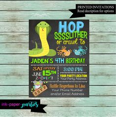 Reptile Snakes Lizard Alligator Frog Turtle Birthday Party Invitations