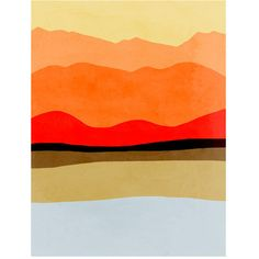 Minimal Art Print, Abstract Landscape Art, Minimalist Poster, Mid... ($18) ❤ liked on Polyvore