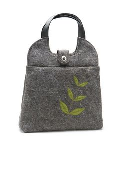 love the simplicity of the #green #leaf embellishment on this #gray felted bag