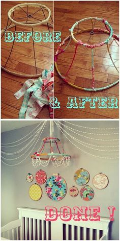 DIY chandelier {pom-poms + hoops)--love this chandelier idea.Would be perfect for some random decoration hanging in the corner of the living room Cool Diy, Craft Projects, Projects To Try, Craft Ideas, Diy And Crafts, Arts And Crafts, Wood Crafts, Diy Bebe, Diy Chandelier