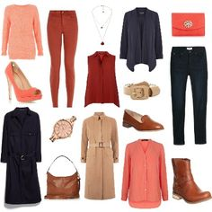 Autumn Palette Capsule Wardrobe from ClothingByColour.com Piped Roll Sleeve Shirt, Single-Breasted Trench Coat, Skinny Elektra jeans, Leather Shoulder Bag, Peep Toe Platform Stiletto Shoe,  Sleeveless Shirt, chain necklace, Popcorn Sequin Jumper, Skinny Jeans, Belt shirt dress, Brooch Detail Clutch Bag, Timberland Ek Savin Hill Ankle Boot Glazed Ginger Leather Boots, Waterfall Draped Jacket, Sekonda Editions 2015 Pyramid Bracelet Watch, Office Verona Loafer Tan Leather Flats, Diamond Stitch…
