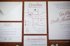 Pink and gray wedding invitation