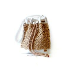 White and Beige Crochet Vegan Bucket Bag, by NOTON by Raquel www.etsy.com/listing/235383580/white-and-beige-crochet-vegan-bucket-bag www.NOTONbyRaquel.etsy.com
