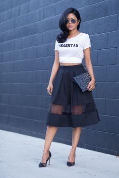 Twenty Tees tee, Express skirt, Shoemint shoes