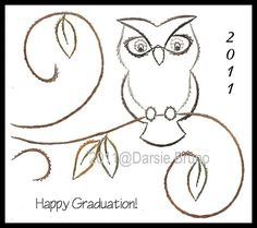 Wise Owl Graduation Paper Embroidery Pattern for Greeting by Darse