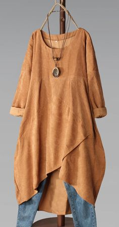 * New Arrival * 😍Comfortable And Stylish - Corduroy O-neck Long Sleeve Irregular Hem Vintage Maxi Dress Best Picture For outfits hiver For Y - Boho Fashion, Fashion Dresses, Womens Fashion, Looks Plus Size, Mode Hijab, Plus Size Fashion, Vintage Dresses, Cool Outfits, My Style
