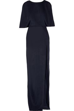 Midnight-blue stretch-satin jersey Concealed hook and zip fastening at back 95% viscose, 3% nylon, 2% elastane Dry clean