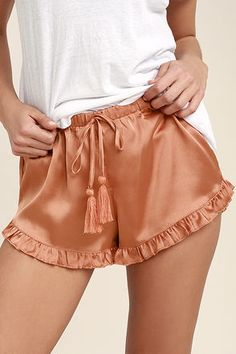 Lounge about and sleep tight in the Night Night Copper Satin Shorts! An elasticized, drawstring waistband tops these lightweight, satin shorts with ruffled hems. Short Outfits, Summer Outfits, Cute Outfits, Pijamas Women, Nightgown Pattern, Babydoll, Satin Shorts, Before Wedding, Pretty Lingerie
