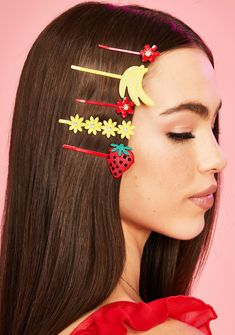 Sugar Thrillz Flower And Fruits Bobby Hair Pins - Red Yellow Hair Horn, World Hair, Candy Hair, Neon Hair, Velvet Hair, Butterfly Hair, Lace Hair, Hair Ties, Flowers In Hair