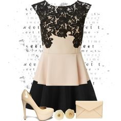 A fashion look from March 2015 featuring peplum tops, black skirt and high heel shoes.