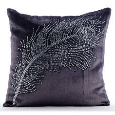 Decorative Throw Pillow Covers Accent Pillow Couch Sofa Toss Bed Pillow Case 20x20 Velvet Pillow Cover Crystal Embroidered Peacock Bliss by TheHomeCentric on Etsy