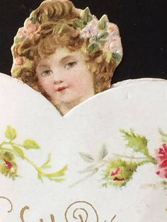 Victorian Valentine Clapsaddle Die Cut Pop Up Fold Down Girl Victorian Valentines, Vintage Valentines, Happy Valentines Day, Primroses, Pop Up, All Things, Cards, Handmade, Stuff To Buy