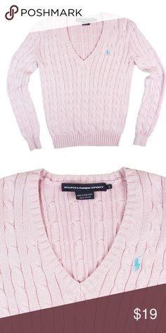 "RALPH LAUREN Light Pink Cable Knit V-Neck Sweater Great condition! This light pink cable knit sweater from RALPH LAUREN features a v-neckline and blue embroidered polo logo at the bust. Made of 100% cotton. Measures: Bust: 34"", total length: 23"", sleeves: 24"" Ralph Lauren Sweaters V-Necks"