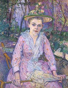 """Henri de Toulouse-Lautrec, """"Femme à l'ombrelle, dite Berthe la sourde (Donna con l'ombrello, detta Berthe la sorda)"""", 1889, Museo di Stato d..."""