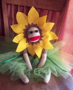 Sock Monkey Doll, Sunflower Princess Ballerina. 46.50USD, via Etsy.