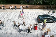 The concept of woonerf suggests that the streets are shared between pedestrians, cars and bikers, causing cars to reduce their speed to almost a pedestrian speed. This is a great example of how cities can increase their living sustainability. With infrastructure that creates particular conditions that create connection between the person and the city, and further increase the relationship between people and public spaces. Introducing even the streets as a public space.