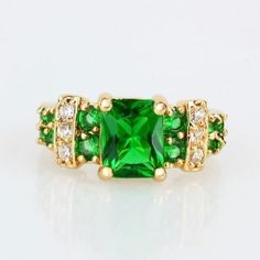 Topaz, Dark Lime Green Square 18K Rose Gold Filled With Accents Size 8 ring USA #silvestromedia #SolitairewithAccents